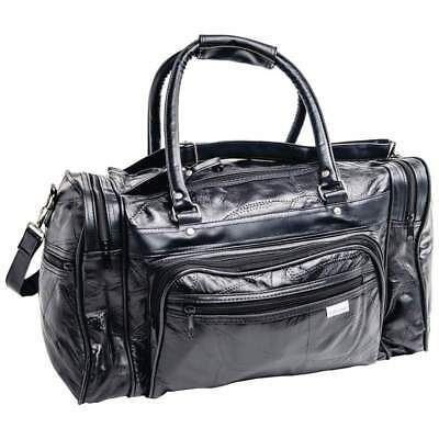 "Embassy Italian Stone Design Black Genuine Leather 17"" Small Duffel Tote Bag"