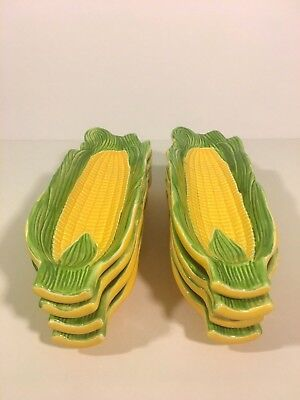 "Set of 8 Vintage Corn on the Cob Serving Trays - Made in Japan - 9 1/2"" Long"