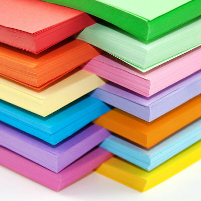 A4 A5 Coloured Papers Arts Craft Sheets Bright Pastel Neon Laser Inkjet Printers