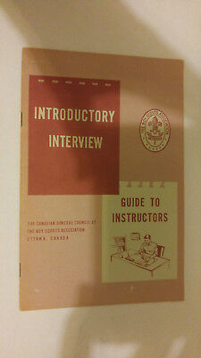 National Council Boy Scouts of Canada Introductory Interview Guide to Instructor