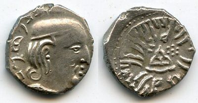 Silver drachm of Rudrasena III (348-378 CE) dated 287 SE/365 CE, Western Satraps