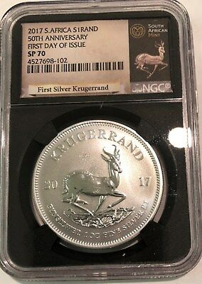 2017 S. Africa 50th Anniversary Silver Krugerrand NGC SP 70 First Day of Issue