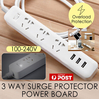 Power Board 3 Way Outlets Socket+3 USB Charging Charger Ports Overload Protected
