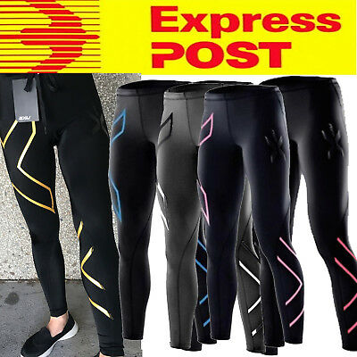 2X WOMENS Compression Pants Tights Full Length or Capri 3/4  6 Colors