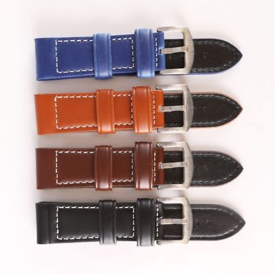 Womens Mens Extra Long Cowhide Leather Watch Strap Band Stainless Steel Buckle