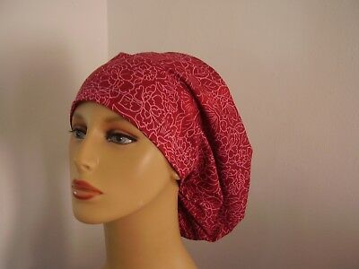 European Surgical Scrub Bouffant Hat- Red/Pink Floral