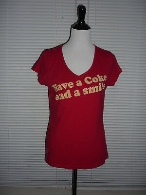 Have a Coke and a Smile Coca Cola Logo Vintage Tee T-Shirt Top Red, Cotton Sz M
