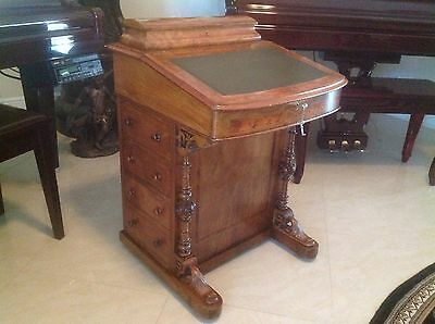 Beautiful Petite Antique Inlay Davenport Ship Desk Leather Burled Walnut Pre1900