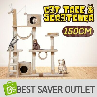 Multi Level 150cm Cat Tree Scratching Post Scratcher Pole Toy Gym House Climbing