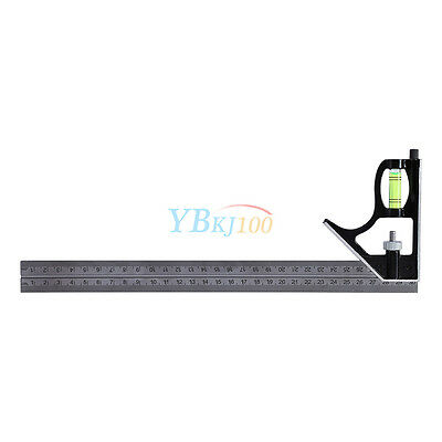 """12"""" 300mm Adjustable Engineer Combination Try Square Set Kit Right Angle Ruler."""