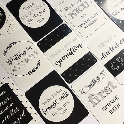 ON SALE - Monochrome Premature Baby Moments & Milestone Cards - 30 Pack