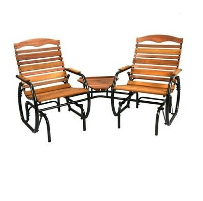 Outdoor Glider 2-Seat Wood Glider with Table Country Garden Patio Furniture Home