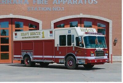 San Francisco Fire Department Rescue 1 4X6 Color Photo ~ Ferrara Heavy-Rescue