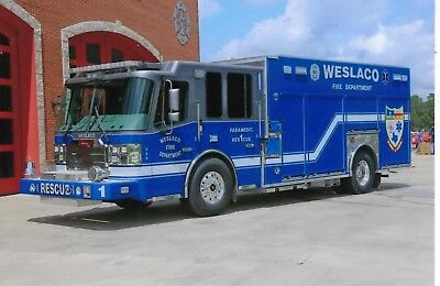 Weslaco Fire Dept Paramedic Rescue 1 4X6 Color Photo ~ Ferrara Heavy-Rescue