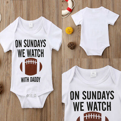 US Newborn Baby Boy Football Cotton Romper Jumpsuit Outfits Short Sleeve Clothes