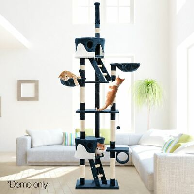 Cat Pet Scratching Tree Post Multi-Level Pole Condo Gym Toy Furniture Blue 260cm