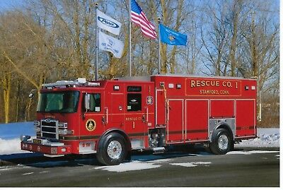 Stamford Fire Department Rescue 1 4X6 Color Photo ~ Pierce Heavy-Rescue Squad