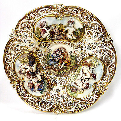 CAPODIMONTE Italian Vintage Hanging Decorative Porcelain Charger Plate Platter
