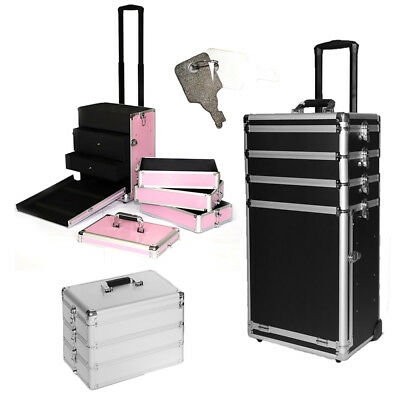 4 in 1 Rolling Makeup Case Aluminum Hair Stylist Train Trolley 4 Wheel Organizer