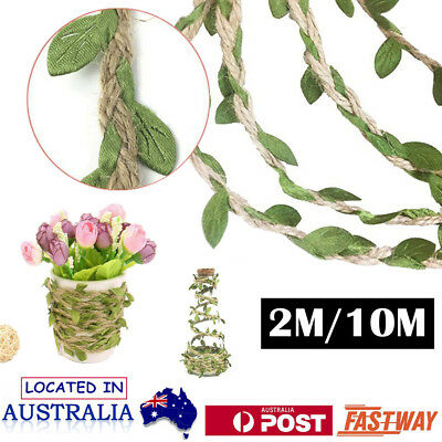 2M/10M Jute Hessian Burlap Leaf Ribbon Twine Rustic String Cord Rope Leaves AU