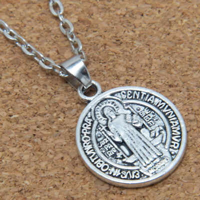 "Saint St Benedict Medal Antiqued Silver Alloy Charm Pendant Necklace 24"" Chain"