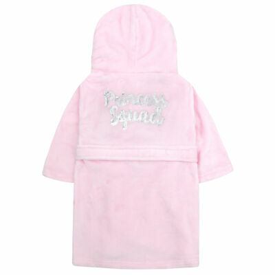 Infant Girls Kids Sequin Princess Plush Fleece Dressing Gown Robe Soft Hooded