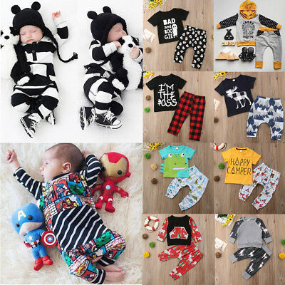 2pcs Newborn Infant Baby Boy Kids Clothes Romper T-shirt Tops+Pants Outfits Set