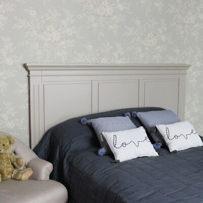 Large kingsize taupe grey panelled headboard bed head vintage country bedroom