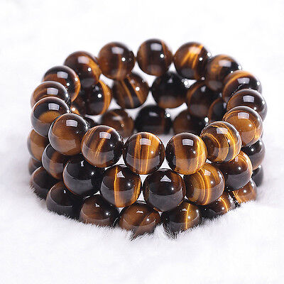 Natural Colorful Tiger Eye Stone Gemstone Beads Men Jewelry Bangle Bracelet 10MM