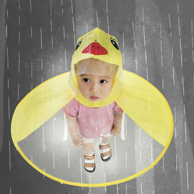 Cartoon Duck Kids Raincoat Umbrella UFO Shape Rain Hat Cape Flowery AU GB