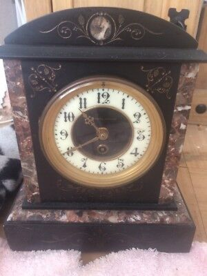 Victorian Slate And Marble MANTLE Clock