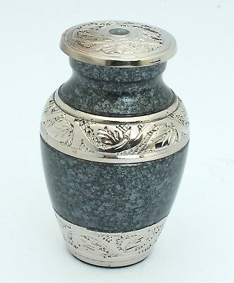 Urn for ashes Cremation Funeral Memorial Small Keepsake classic grey  container