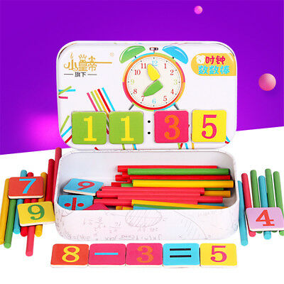 Wooden Number Stick Magnetic Math Puzzle Child Baby Education Calculate Game Toy