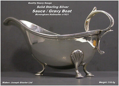 Antique Silver Sauce / Gravy Boat Sterling  Birmingham HM c1921 by J.Gloster Ltd