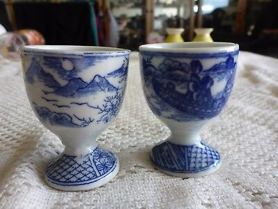 Egg Cup X 2 White And Blue