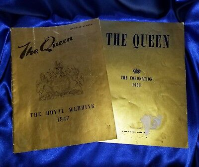 Souvenir Numbers The Queen The Royal Wedding 1947 & Coronation 1953 Books (2)