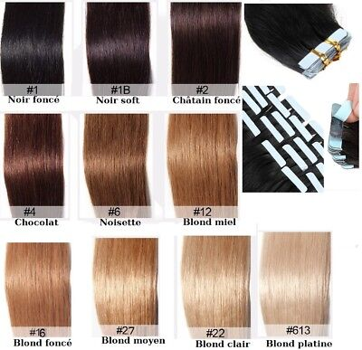 10-20-30-40 Extensions Tape Bandes Adhesives Cheveux Naturels Remy Hair 49-60Cm