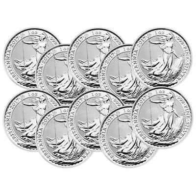 Lot of 10 x 1 oz 2017 Britannia Lunar Year of the Rooster Privy Silver Coin