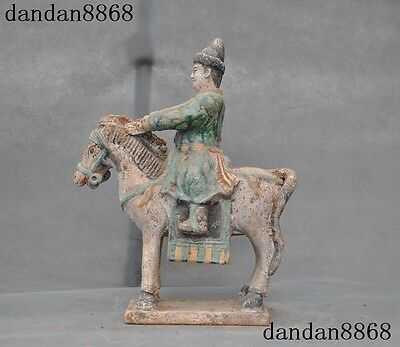 Chinese Ancient Porcelain Pottery Tang Dynasty Sancai people horse riding statue