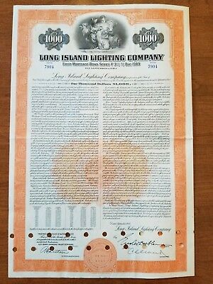 1953 Long Island Lighting Company Bond Certificate New York