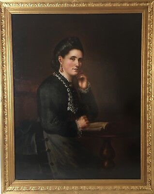 Fine Large 19th C Oil Painting Portrait Of A Lady, Antique Gilt Framed