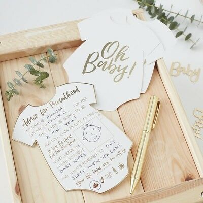 Unisex Baby Shower Advice Cards Oh Baby Gold Mum to Be Advice Card Keepsake x 10