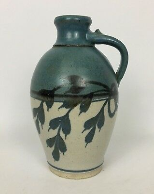 Emerson Creek Pottery Stoneware Decorated Jug Blue Leaves Bedford Virginia
