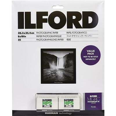 Ilford Value Pack Multigrade IV RC 8x10 25 Shts Pearl Paper + 2 Rolls HP5 Film