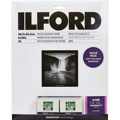 Ilford Value Pack Multigrade IV RC 8x10 25 Shts Glossy Paper + 2 Rolls HP5 Film