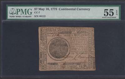 Continental Colonial Currency CC-7 *** PMG AU55 EPQ ***  $7.00  May 10, 1775