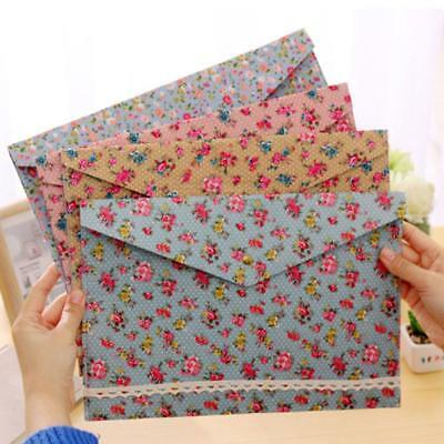 Vintage Dots Flower Face Series A4 Documents File Folder Bag Files Station COP*`
