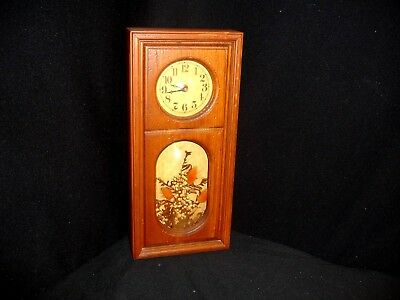 """Vintage Wood """"Designs In Time"""" Mantle/Wall Clock with Curved Glass - Unique!"""