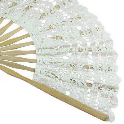 Handmade Cotton Lace Folding Hand Fan for Party Bridal Wedding Decoration ( I5M4