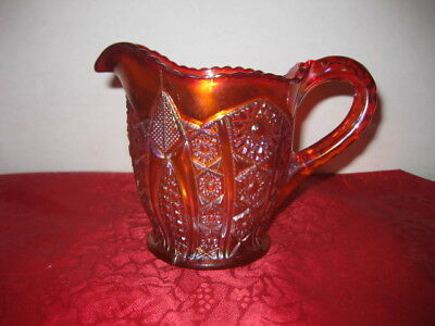 Indiana Heirloom Sunset Carnival Glass Creamer, Vintage 70s Amberina Red Yellow